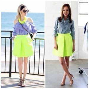J. CREW Front Pleat Neon Crepe A-Line Mini Skirt 2